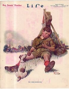 1920 Life February 5 - Norman Rockwell Cover - Very Rare Scout and Wire-Hair Fox