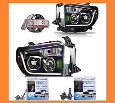 Winjet Toyota Tundra Projector Black Clear Head Lights 14-16 +PERDE 6000K Bulbs