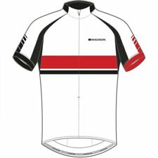 Madison Men's classic sportive short sleeve jersey, White / Flame Red, Large