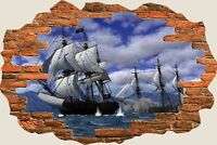 3D Hole in Wall Pirate Ship Schooner View Wall Stickers Film Art Wallpaper 507