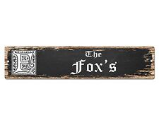 SP0773 The FOX'S Family name Sign Bar Store Shop Cafe Home Chic Decor Gift