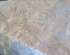 TROPICAL LEAF LINEN BIEGE IVORY REVERSABLE WOVEN DAMASK UPHOLSTERY FABRIC