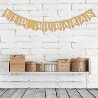 Linen Eid Mubarak Ramadan Star Moon Bunting Eid Islam Banner Muslim Home Decor