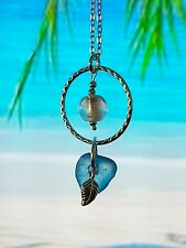 Blue sea glass & lampwork bead circle pendant necklace
