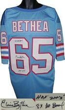 Elvin Bethea signed Blue Tb Custom Stitched Pro Style Fb Jersey 8X Pro Bowl/Hof