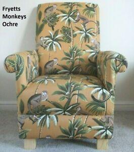 Fryetts Monkeys Fabric Childs Chair Childrens Armchair Animals Safari Kids Ochre