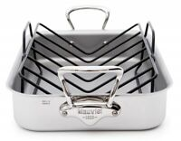 """Mauviel M'cook 15.7"""" x 11.8"""" 5-Layer 18/10 Stainless Steel Roasting Pan w/ Rack"""