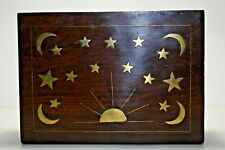 Vintage Home Decor Assorted Wooden Box with Brass Moon and Star Inlay