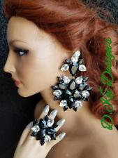Drag Jewelry jet Large earrings and ring dragqueen pageant bling crystal mix