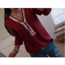 CA Womens Long Sleeve V Neck T Shirt Ladies Casual Loose Sequin Tops Size S-5XL