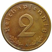 (E13) - Deutschland Germany - 2 Reichspfennig 1939 A - Reichsadler - AU - KM# 90