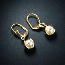 Sevil 18K Gold Plated Created Pearl Cage Drop Earrings