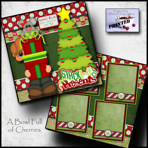 CHRISTMAS PRESENTS GIFTS ~ 2 premade scrapbook pages paper piecing CHERRY #0047