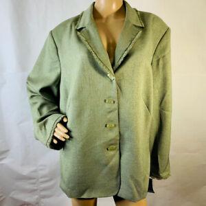 Kasper Woman Plus Size 24W Suit Blazer Button Down Front Frayed Trim Palm New