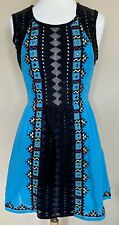 Free People Water Lily Dress Turquoise Black Mirrors Embroidery Metallic Sz 6