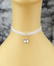White Velvet Choker Collar/Necklace Clear Crystal Heart Wedding/Party/Fashion UK