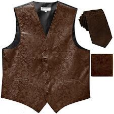 """New Men's Formal Vest Tuxedo Waistcoat_2.5"""" necktie set paisley wedding Brown"""