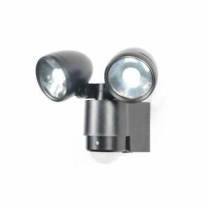 Zinc Outdoor Wall Light 2 Spotlight IP44 With PIR Sensor Fixture 3W - Black