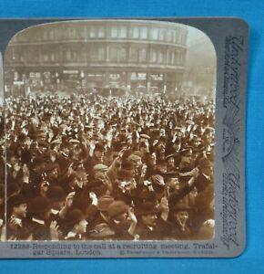 WW1 Stereoview Photo Recruiting Meeting Trafalgar Sq London Soldiers Underwood