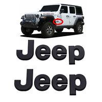 2 x 2018-2020 Jeep Wrangler JL Matte Black Emblem JEEP Fender Nameplate,OEM