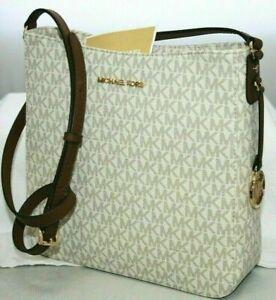 New Michael Kors Jet Set MK Signature Vanilla / Brown Crossbody Messenger Bag