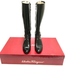 Salvatore-Ferragamo-Riding-Boots-Mirina-Black-Calf-Leather-7-SS-Italy-Made