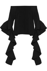 ELLERY Delores Ruffled Sleeve Off Shoulder Crepe Top Blouse Shirt
