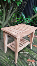 Teak shower seat bench with shelf, Wooden bathroom stool outdoor use, spa chair