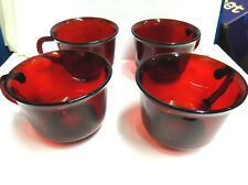 red ruby glass cups glcoloc france pressed glass