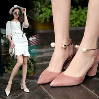 Women's Pumps Sandals Pointed Toe 8CM Chunky Heels Slip On Party Ladies Shoes