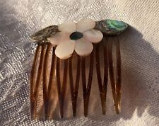 with abalone & Mop Vintage Comb, flower, handcrafted, inlaid