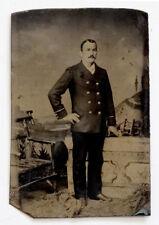 ANTIQUE Vintage FANCY MAN in NAVY ? UNIFORM COAT Tintype Photograph GAY INTEREST