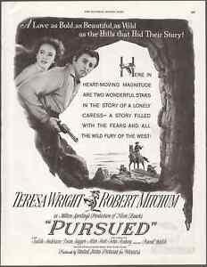 "Movie Poster ""Pursued"" Vintage Print Art Advert 10.5"" x 13.75"""
