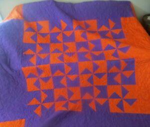 """Quilt Patchwork Bedspread Orange Purple Pinwheel Flowers Swirl 84"""" x 94"""" Queen"""