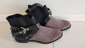 Zara Women's Flat Ankle Boots, Black & Grey, New, 40 /USA 9/UK 7/25.5cm $79.00