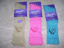 3 Pair Wrangler Socks - Ladies Horseshead - #9496 - KhakI/Pink/Teal - M - 9 to11