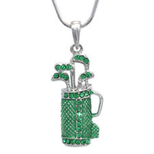 Crystal Golf Club Set Bag Sporting Goods Necklace Sports Jewelry Gift for Golfer