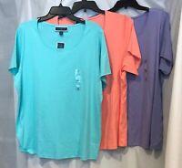 (NWT) Karen Scott Women's Plus Sizes Cotton Scoop Neck Top, Aqua/Purple/Coral