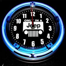 "JEEP LOGO - 11"" Blue Neon Wall Clock"