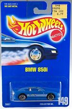 Hot Wheels Collector No. 149 BMW 850i Blue w/UH's 1992 New On Card