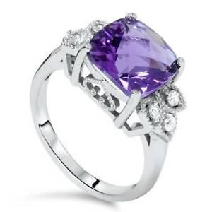 Women's 4ct Cushion Amethyst Vintage Diamond Ring Solid 14K White Gold