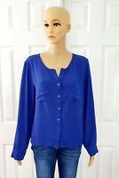 Blouse Women Dark Blue Long Sleeve V Neck Button Down Size Large shirt Top