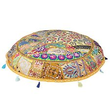 Home Decorative Floor Cushion Cover Pouf Indian Patchwork Cotton Ottoman Cover