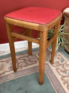 Vintage Retro Wooden Mid Century Stool Red Vinyl Covered Seat