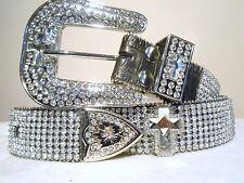 ON SALE! Misses / Women's Nocona Croc Leather Crystal Bling Belt w/cross Size 26