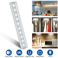 10 LED Motion Sensor Light Night Cabinet Closet Battery Powered Portable Lamp US