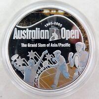 .1905 - 2005 .999% FINE SILVER 1oz COLOURED PROOF $1. AUSTRALIAN TENNIS OPEN.