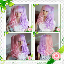 Lolita pink and light purple mix curly Split-Type Heat-Resistant WIG + giftAE198