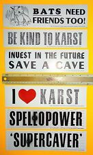 CAVING STICKERS (6) SUPERCAVER BATS-NEED-FRIENDS KARST SPELEOPOWER SAVE-A-CAVE
