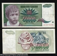 YUGOSLAVIA 50000 DINAR p117 1992 YOUNG BOY ROSE CURRENCY MONEY SERBIA BANK NOTE
